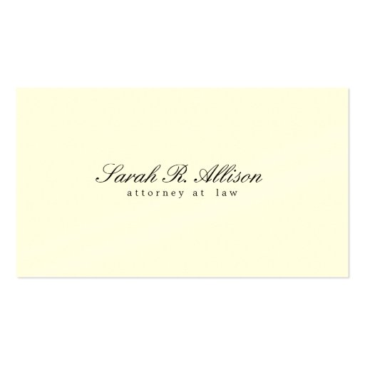 Elegant Minimalist Attorney Cream Colored Business Card Template