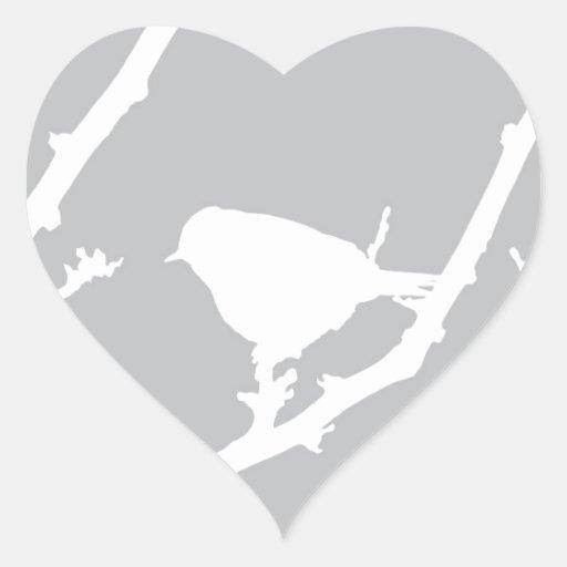 Elegant Minimalist Bird Silhouette Heart Sticker