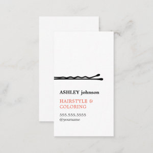 Elegant Minimalist Black White Hairdresser Business Card