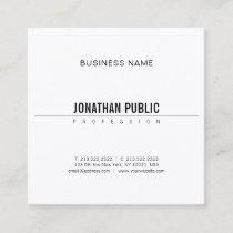 Elegant Minimalist Design Modern B&W Plain Smart Square Business Card