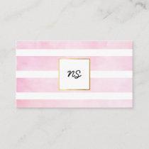 Elegant Minimalist Pastel Pink Watercolor Stripe Business Card