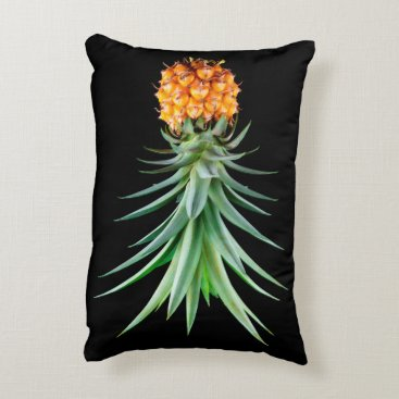 Beach Themed elegant minimalist pineapple | black background accent pillow