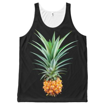 Beach Themed elegant minimalist pineapple | black background All-Over-Print tank top