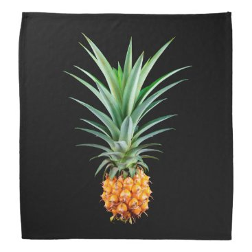 Beach Themed elegant minimalist pineapple | black background bandana