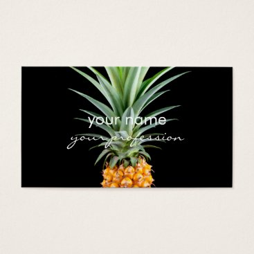 Beach Themed elegant minimalist pineapple | black background business card