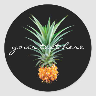 elegant minimalist pineapple | black background classic round sticker