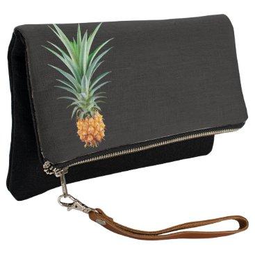 Beach Themed elegant minimalist pineapple | black background clutch