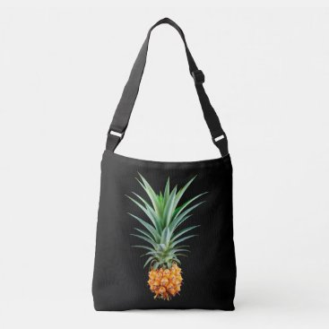 Beach Themed elegant minimalist pineapple | black background crossbody bag