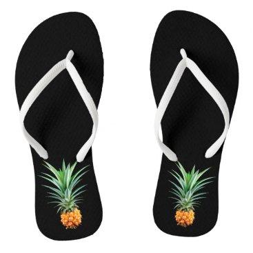 Beach Themed elegant minimalist pineapple   black background flip flops