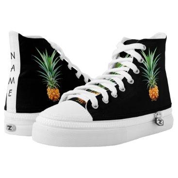Beach Themed elegant minimalist pineapple   black background High-Top sneakers