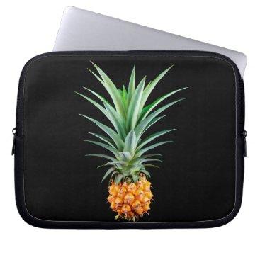 Beach Themed elegant minimalist pineapple | black background laptop sleeve