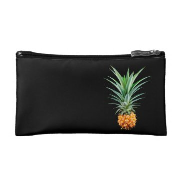 Beach Themed elegant minimalist pineapple | black background makeup bag