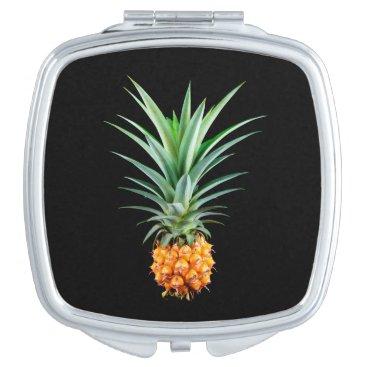Beach Themed elegant minimalist pineapple | black background mirror for makeup