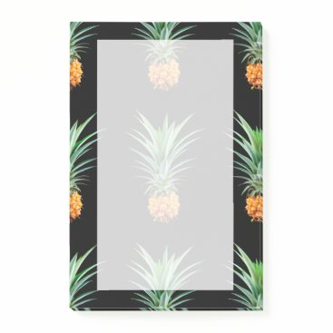 Beach Themed elegant minimalist pineapple | black background post-it notes