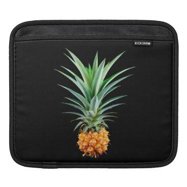 Beach Themed elegant minimalist pineapple | black background sleeve for iPads