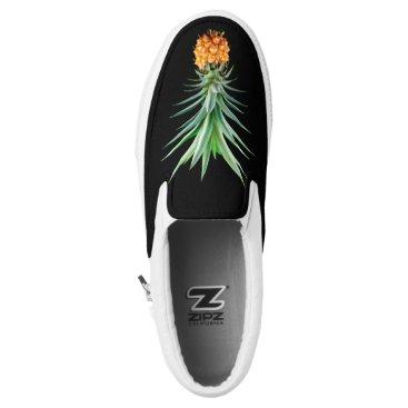 Beach Themed elegant minimalist pineapple   black background Slip-On sneakers