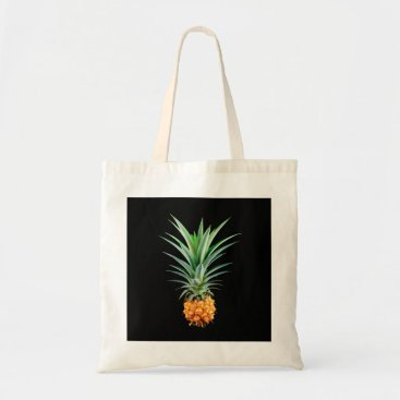 Beach Themed elegant minimalist pineapple | black background tote bag