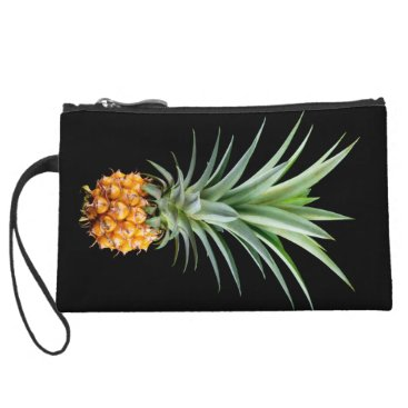 Beach Themed elegant minimalist pineapple | black background wristlet