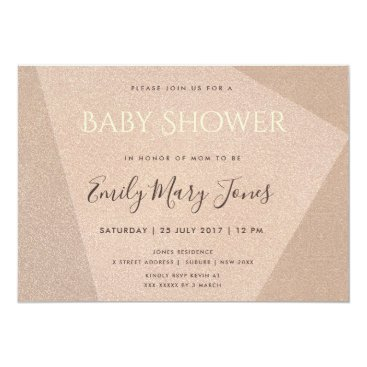 Professional Business ELEGANT MINIMALIST ROSE GOLD SHIMMER  BABY SHOWER CARD