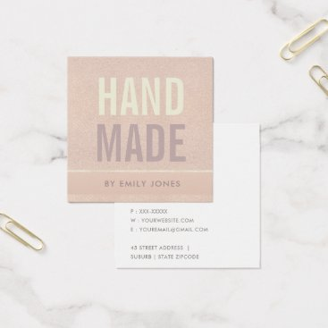 Professional Business ELEGANT MINIMALIST ROSE GOLD SHIMMER HANDMADE SQUARE BUSINESS CARD