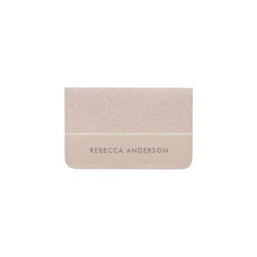 Professional Business ELEGANT MINIMALIST ROSE GOLD SHIMMER PERSONALIZED BUSINESS CARD HOLDER