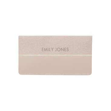 Professional Business ELEGANT MINIMALIST ROSE GOLD SHIMMER PERSONALIZED CHECKBOOK COVER