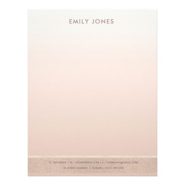 Professional Business ELEGANT MINIMALIST ROSE GOLD SHIMMER PERSONALIZED LETTERHEAD