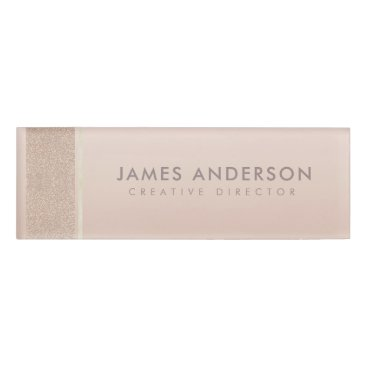 Professional Business ELEGANT MINIMALIST ROSE GOLD SHIMMER PERSONALIZED NAME TAG