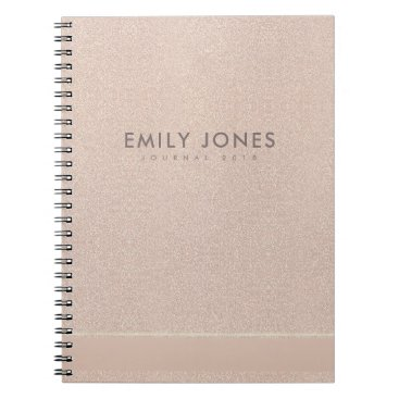 Professional Business ELEGANT MINIMALIST ROSE GOLD SHIMMER PERSONALIZED NOTEBOOK
