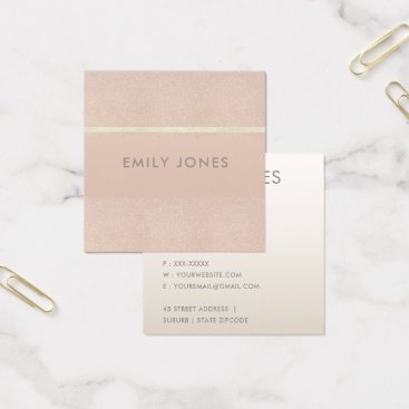 Professional Business ELEGANT MINIMALIST ROSE GOLD SHIMMER SQUARE BUSINESS CARD