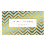 Elegant Mint and Faux Gold Foil Chevrons Double-Sided Standard Business Cards (Pack Of 100)