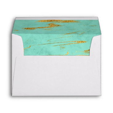 Beach Themed Elegant Mint and Faux Gold Foil Marble Pattern Envelope