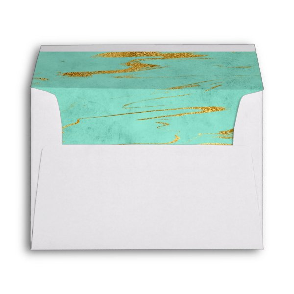 Elegant Mint and Faux Gold Foil Marble Pattern Envelope