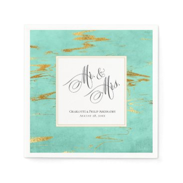 Beach Themed Elegant Mint and Gold Faux Foil Wedding Paper Napkin