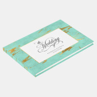 Elegant Mint and Gold Marble Pattern Wedding Guest Book