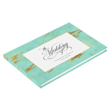 Beach Themed Elegant Mint and Gold Marble Pattern Wedding Guest Book