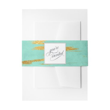 Beach Themed Elegant Mint and Gold Marble Pattern Wedding Invitation Belly Band