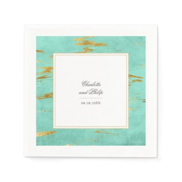 Beach Themed Elegant Mint and Gold Marble Pattern Wedding Napkin