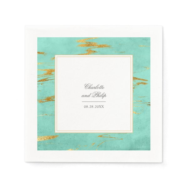 Elegant Mint and Gold Marble Pattern Wedding Napkin
