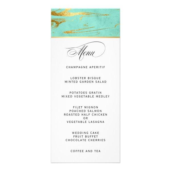 Elegant Mint and Gold Marble Wedding Menu