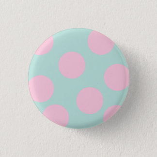 elegant mint and large pink polka dots pattern button