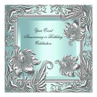 Elegant Mint Blue Silver Floral Party Card