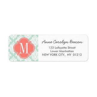Elegant Mint Damask Personalized Label