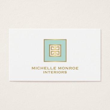 Professional Business Elegant Mint/Gold Greek Key Design Business Card
