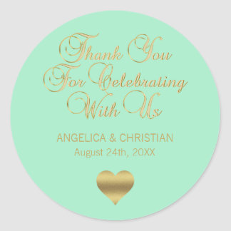 Elegant MINT Gold Thank you Wedding Classic Round Sticker