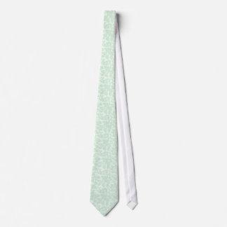 Elegant Mint-Green 2 Floral Damasks Neck Tie