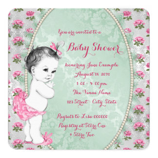 Elegant Mint Green and Pink Rose Baby Girl Shower 5.25x5.25 Square Paper Invitation Card