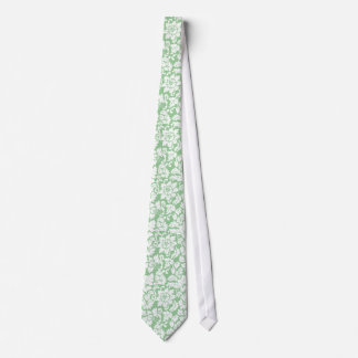 Elegant Mint-Green And White Floral Damasks Tie
