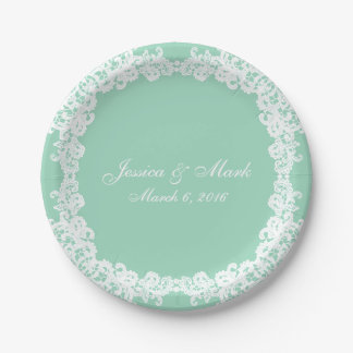Elegant Mint green and white lace custom plate