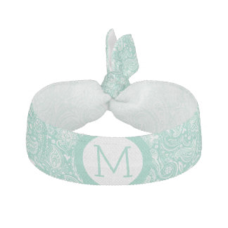 Elegant Mint-Green And White Paisley Ribbon Hair Tie